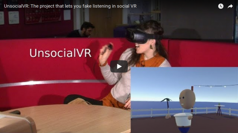 Youtube video about the UnsocialVR project